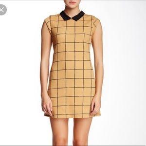 Lush Collared Brown Black Check Mini Dress Size M